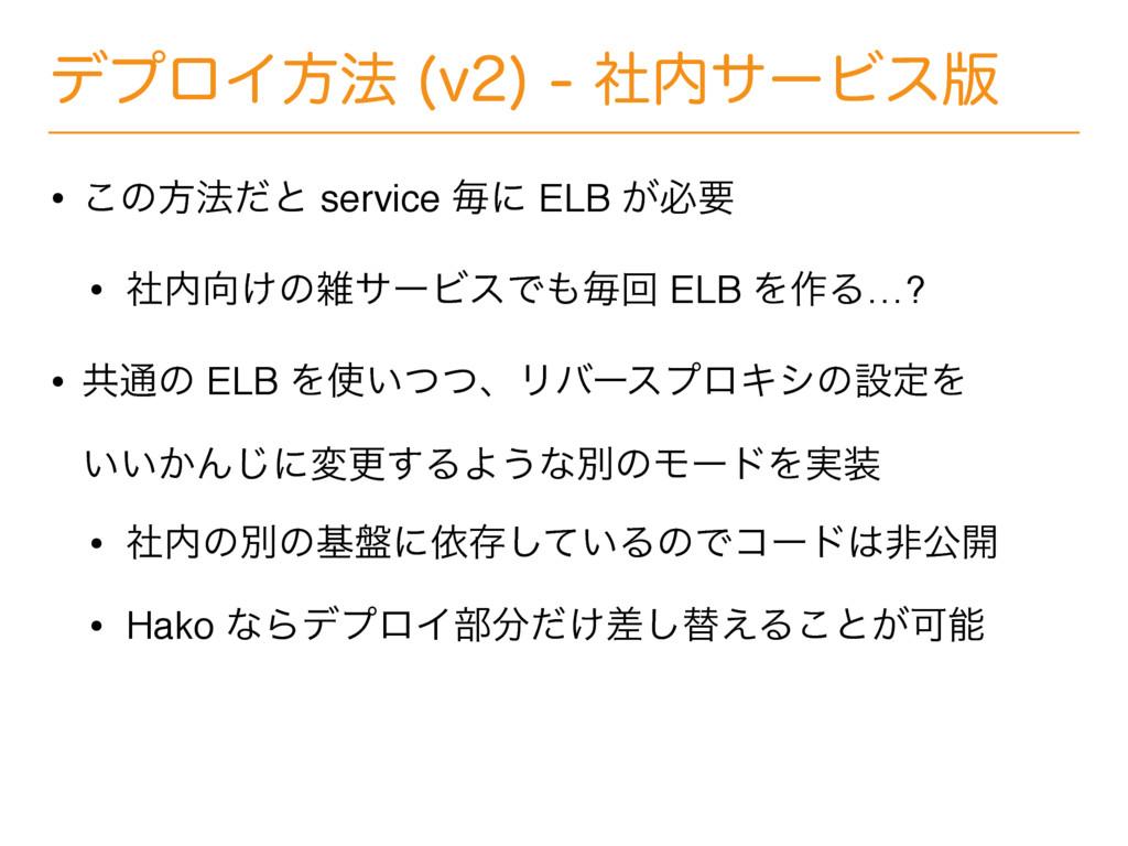 σϓϩΠํ๏ W ࣾαʔϏε൛ • ͜ͷํ๏ͩͱ service ຖʹ ELB ͕...