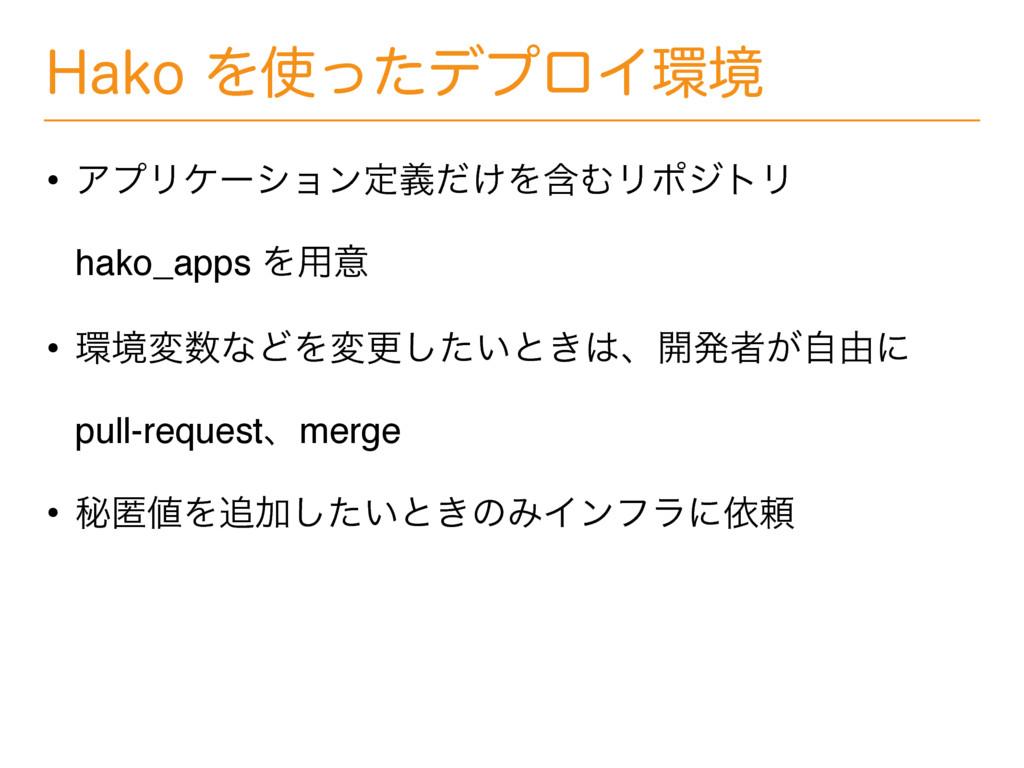 )BLPΛͬͨσϓϩΠڥ • ΞϓϦέʔγϣϯఆ͚ٛͩΛؚΉϦϙδτϦ hako_app...