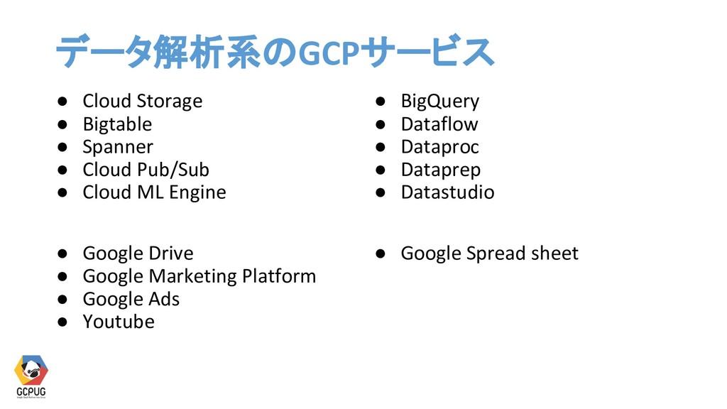 データ解析系のGCPサービス ● Cloud Storage ● Bigtable ● Spa...