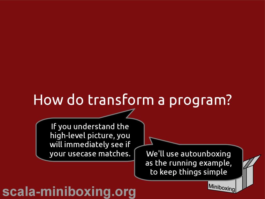 scala-miniboxing.org How do transform a program...