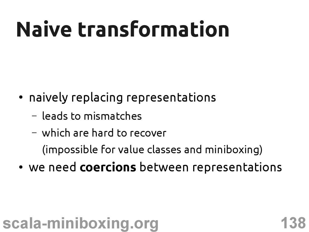 138 scala-miniboxing.org Naive transformation N...