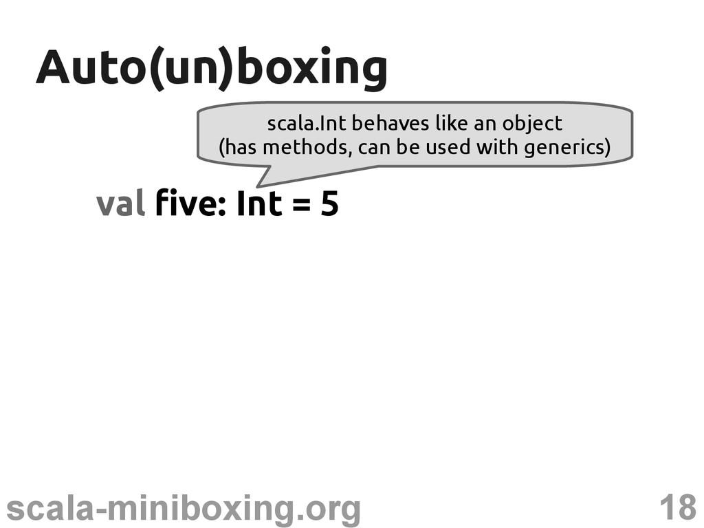 18 scala-miniboxing.org Auto(un)boxing Auto(un)...