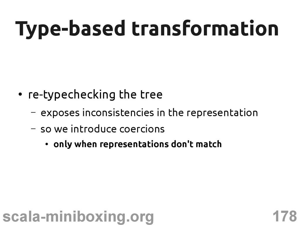 178 scala-miniboxing.org Type-based transformat...