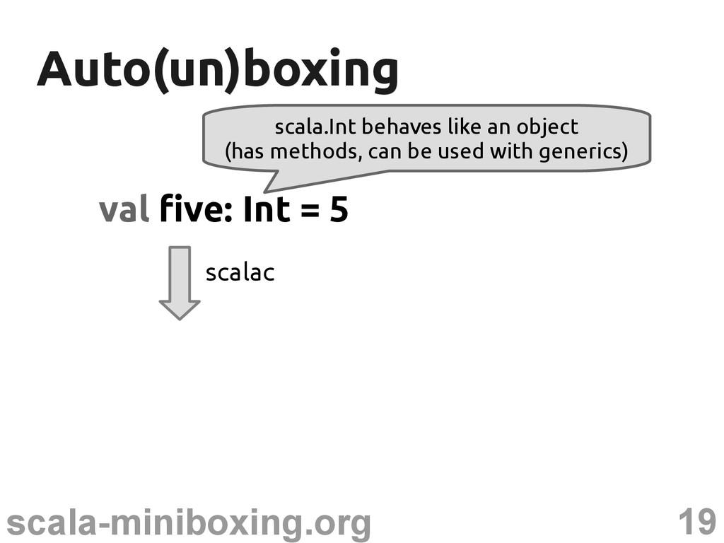19 scala-miniboxing.org Auto(un)boxing Auto(un)...