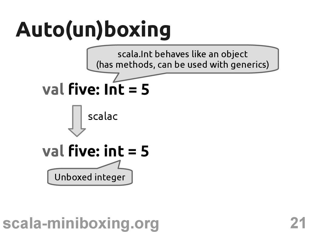 21 scala-miniboxing.org Auto(un)boxing Auto(un)...