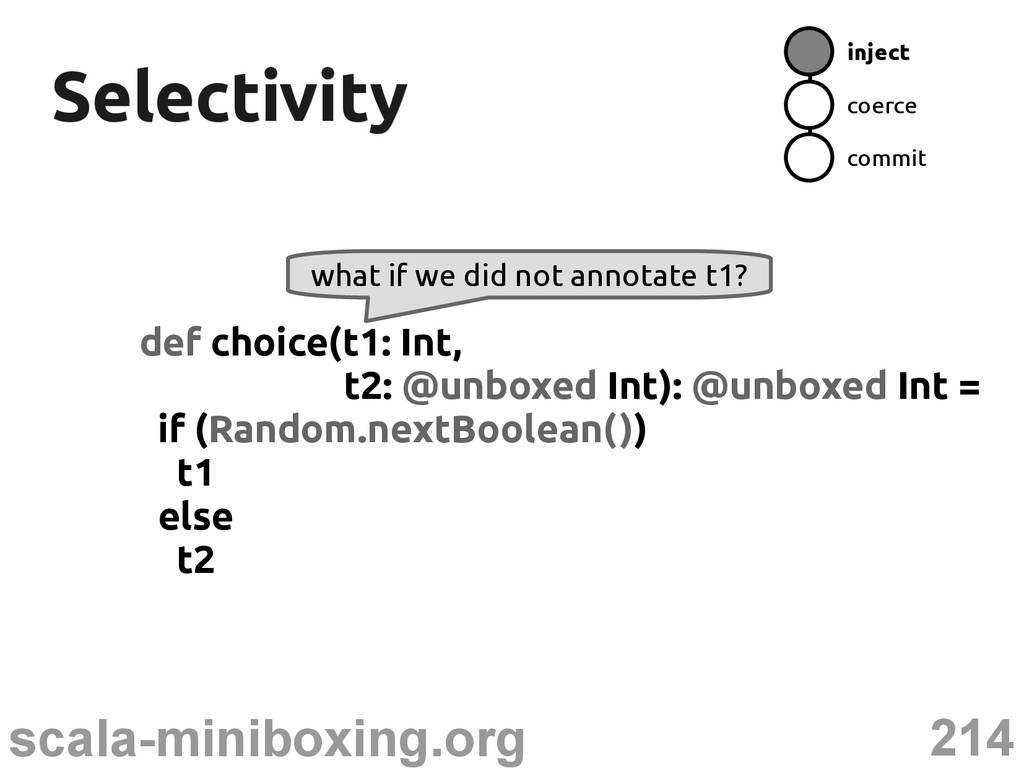 214 scala-miniboxing.org Selectivity Selectivit...