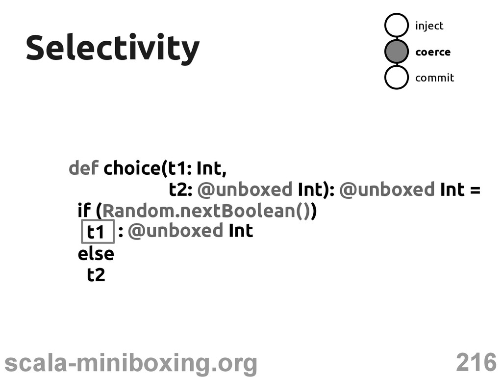 216 scala-miniboxing.org Selectivity Selectivit...