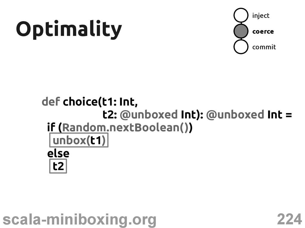 224 scala-miniboxing.org Optimality Optimality ...
