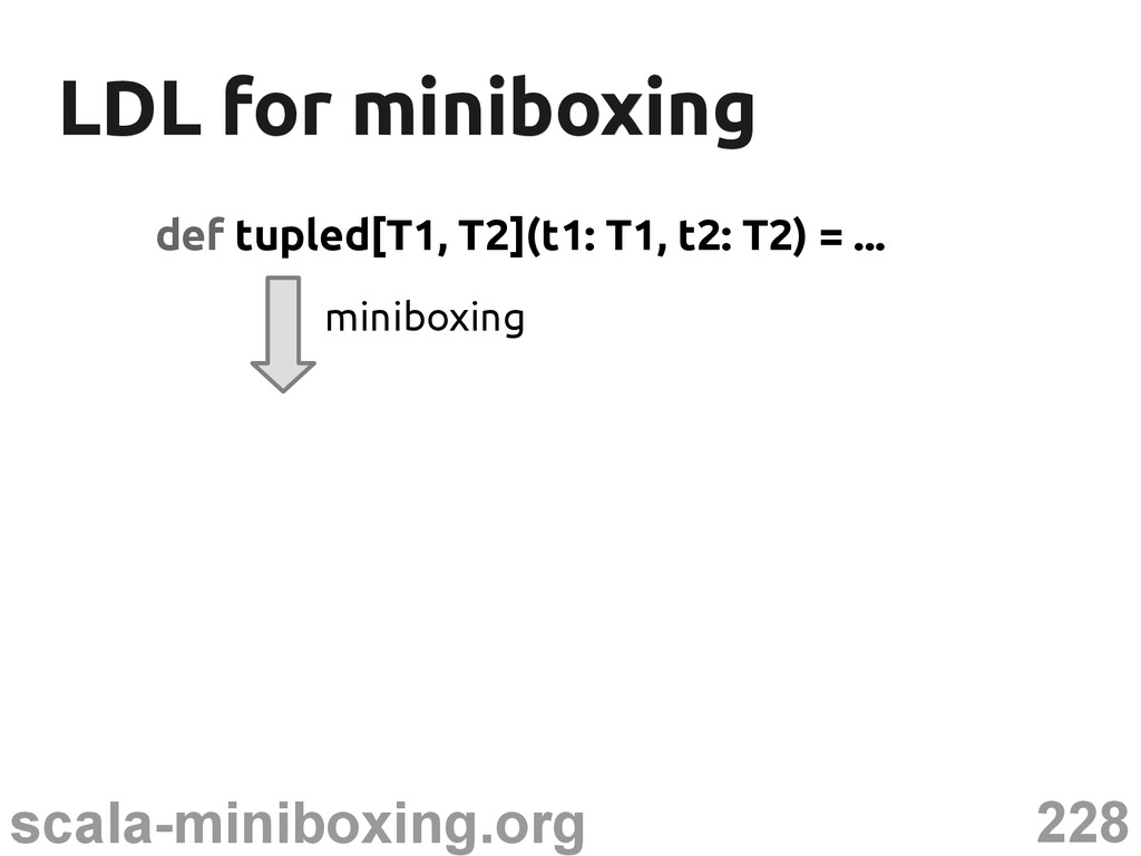 228 scala-miniboxing.org LDL for miniboxing LDL...