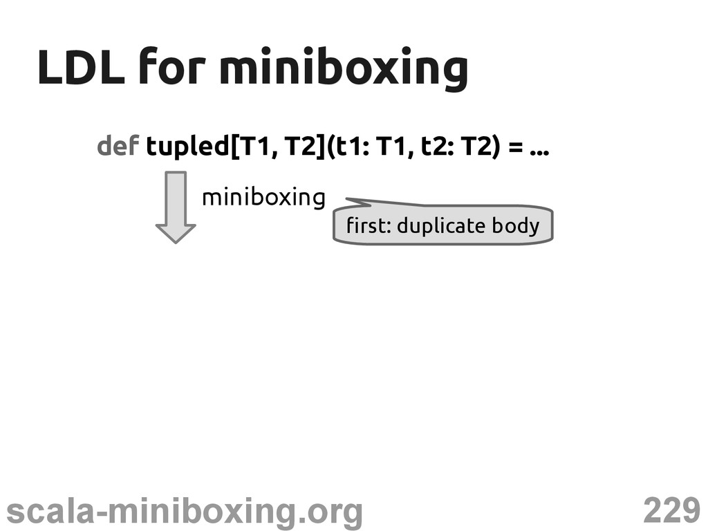 229 scala-miniboxing.org LDL for miniboxing LDL...