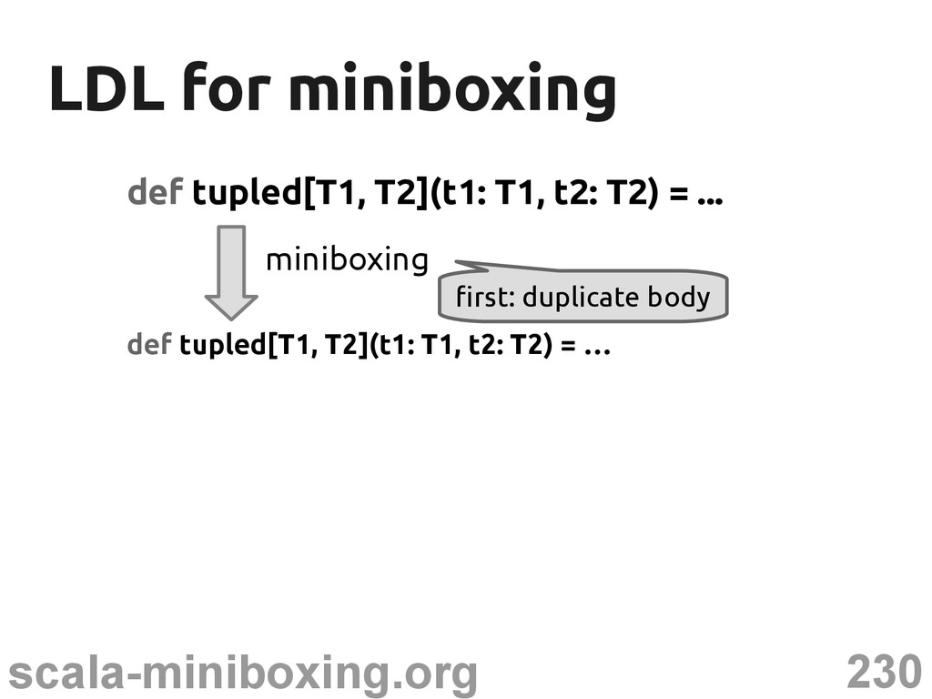 230 scala-miniboxing.org LDL for miniboxing LDL...