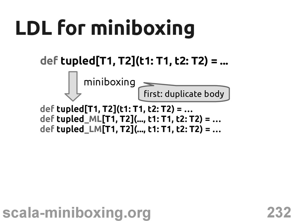 232 scala-miniboxing.org LDL for miniboxing LDL...
