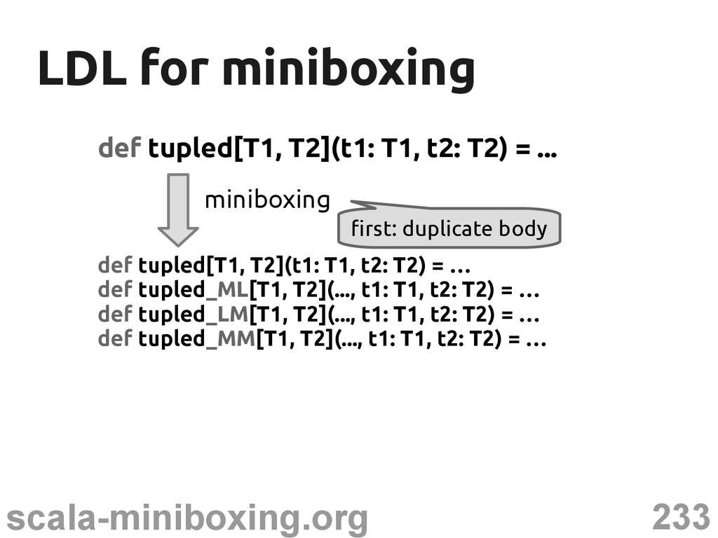 233 scala-miniboxing.org LDL for miniboxing LDL...