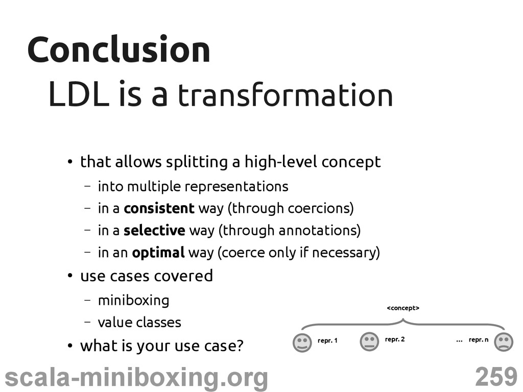 259 scala-miniboxing.org Conclusion Conclusion ...