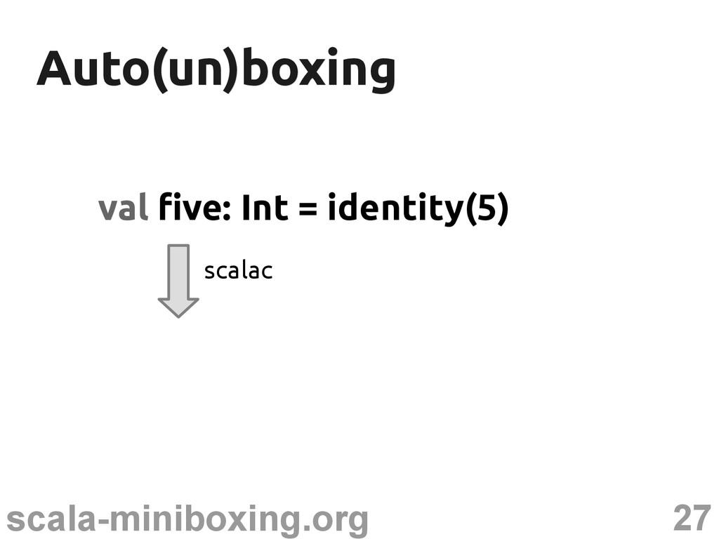 27 scala-miniboxing.org Auto(un)boxing Auto(un)...