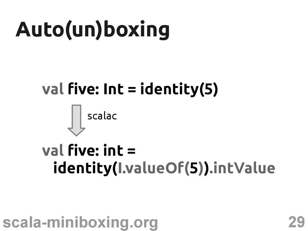 29 scala-miniboxing.org Auto(un)boxing Auto(un)...