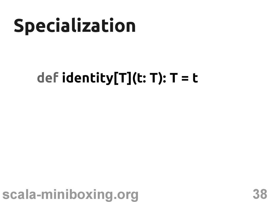38 scala-miniboxing.org Specialization Speciali...