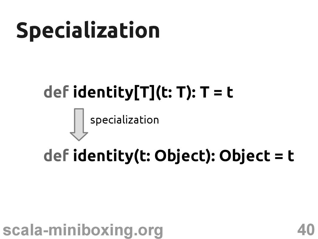 40 scala-miniboxing.org Specialization Speciali...