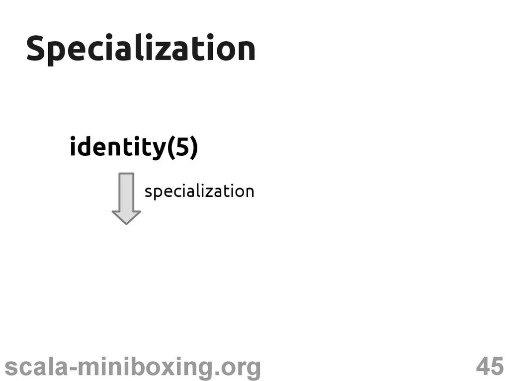 45 scala-miniboxing.org Specialization Speciali...