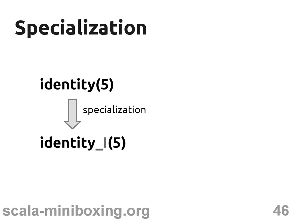 46 scala-miniboxing.org Specialization Speciali...