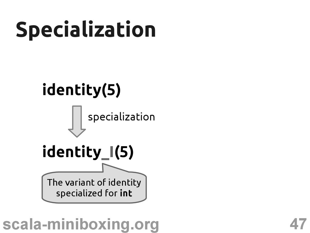 47 scala-miniboxing.org Specialization Speciali...