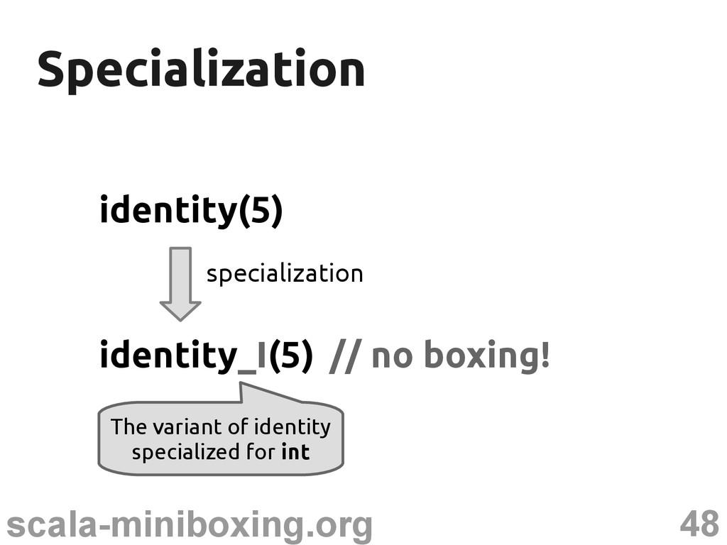 48 scala-miniboxing.org Specialization Speciali...