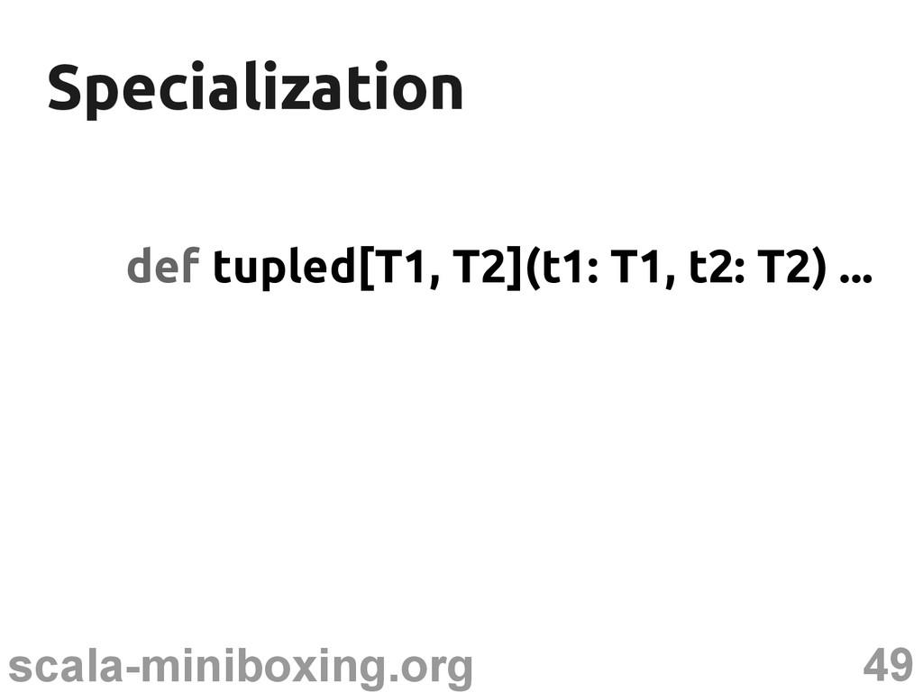 49 scala-miniboxing.org Specialization Speciali...
