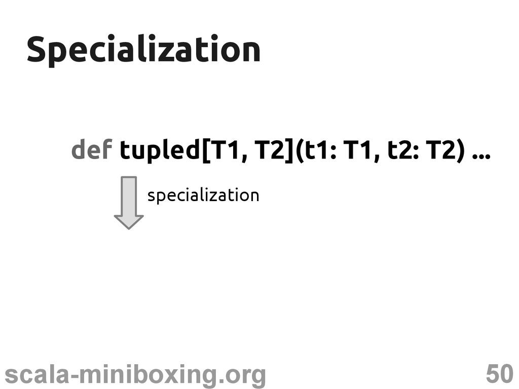 50 scala-miniboxing.org Specialization Speciali...