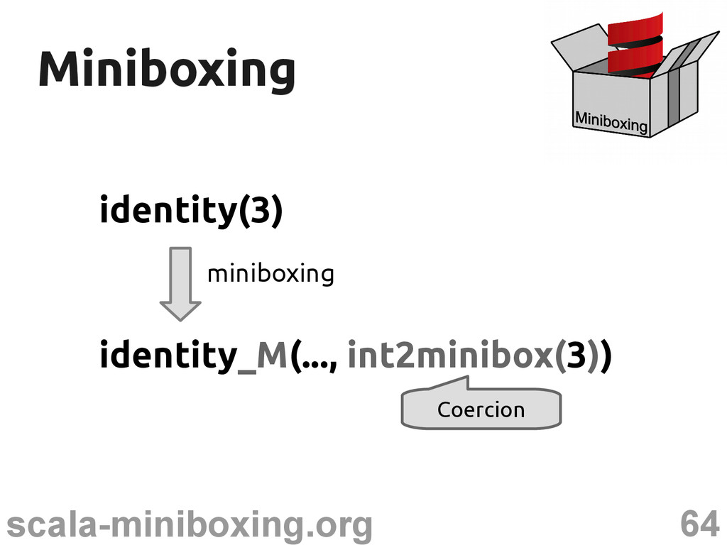 64 scala-miniboxing.org Miniboxing Miniboxing i...