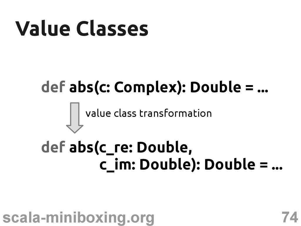 74 scala-miniboxing.org Value Classes Value Cla...