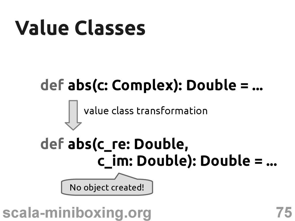 75 scala-miniboxing.org Value Classes Value Cla...