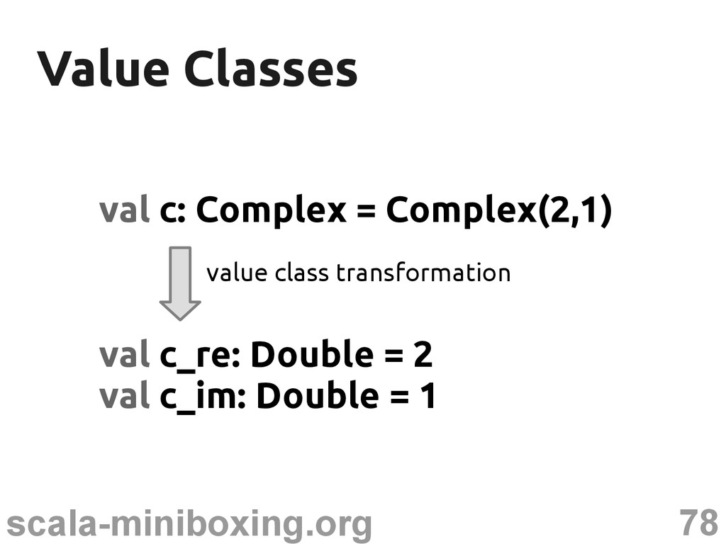 78 scala-miniboxing.org Value Classes Value Cla...