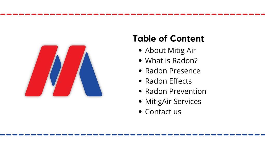 About Mitig Air What is Radon? Radon Presence R...