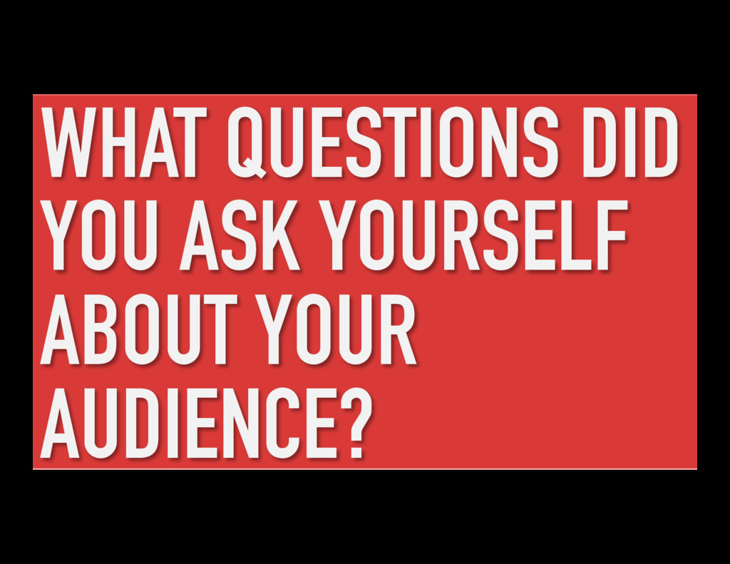 WHAT QUESTIONS DID YOU ASK YOURSELF ABOUT YOUR ...