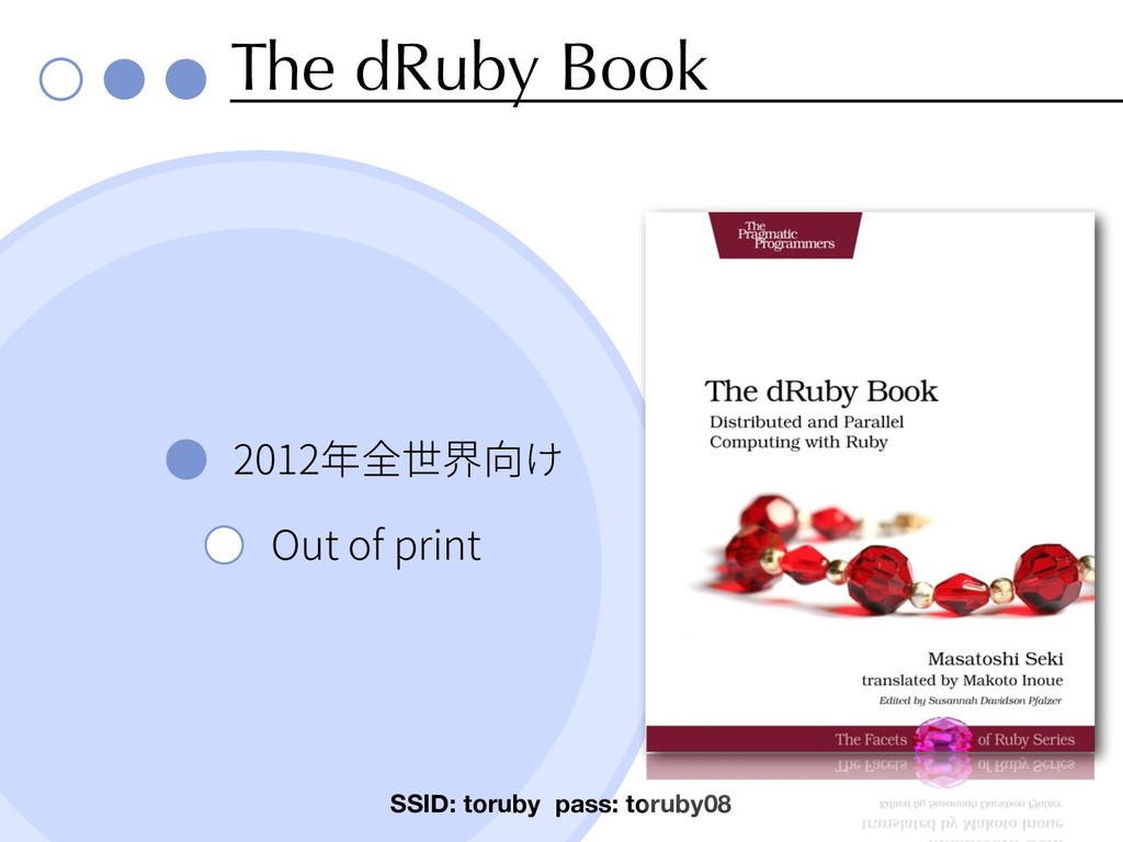 The dRuby Book 2012 Out of print SSID: toruby p...