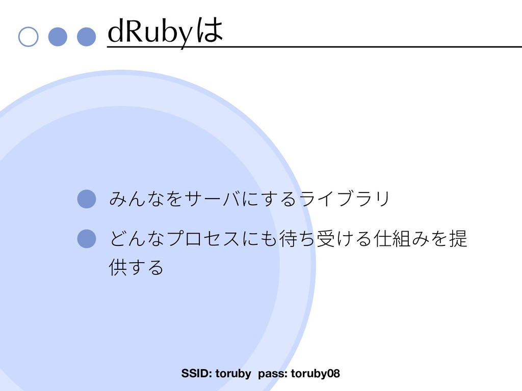 dRuby SSID: toruby pass: toruby08