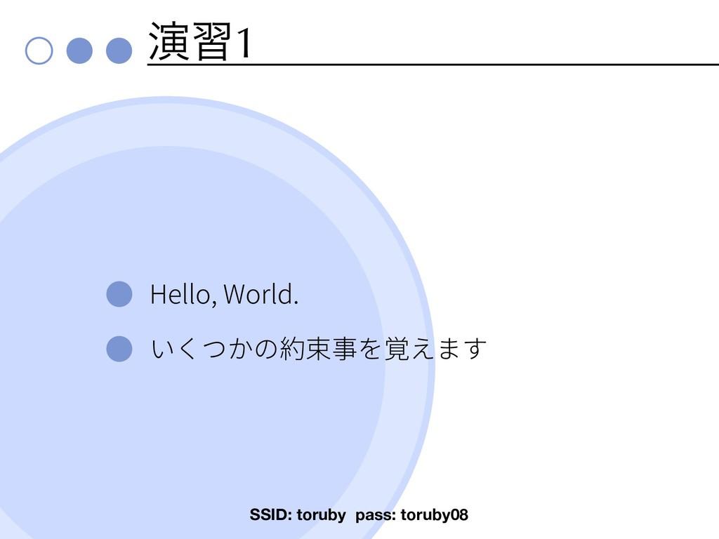 ԋश1 Hello, World. SSID: toruby pass: toruby08