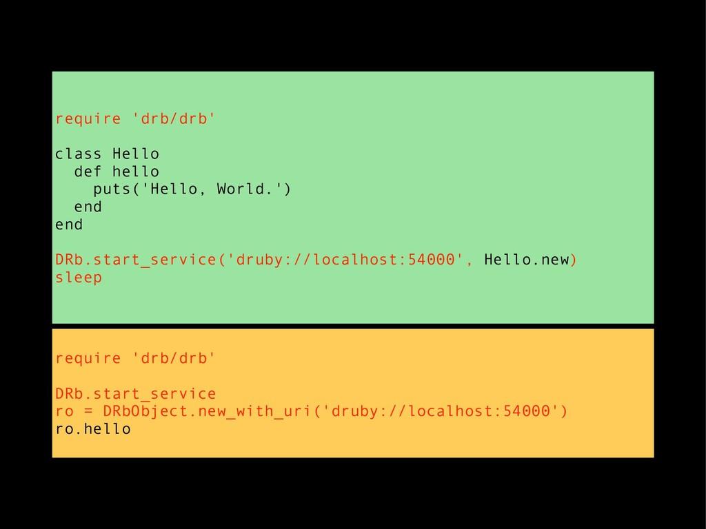 require 'drb/drb' DRb.start_service ro = DRbObj...