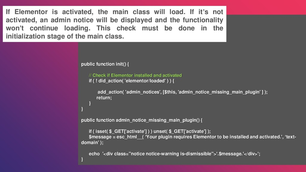 public function init() { // Check if Elementor ...