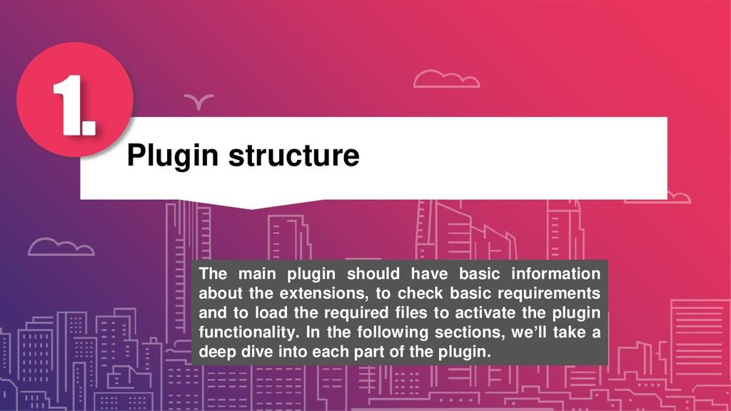 Plugin structure 1. The main plugin should have...