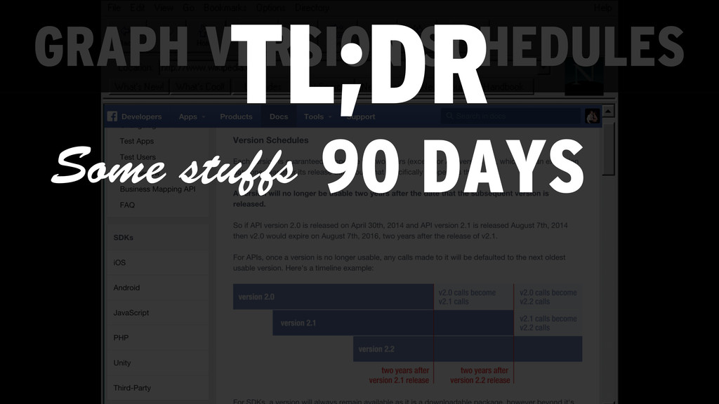 GRAPH VERSION SCHEDULES TL;DR 90 DAYS Some stuf...