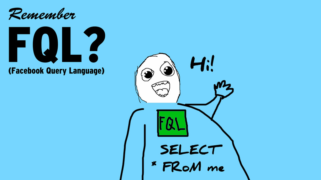 FQL? Remember SELECT * FRoM me (Facebook Query ...