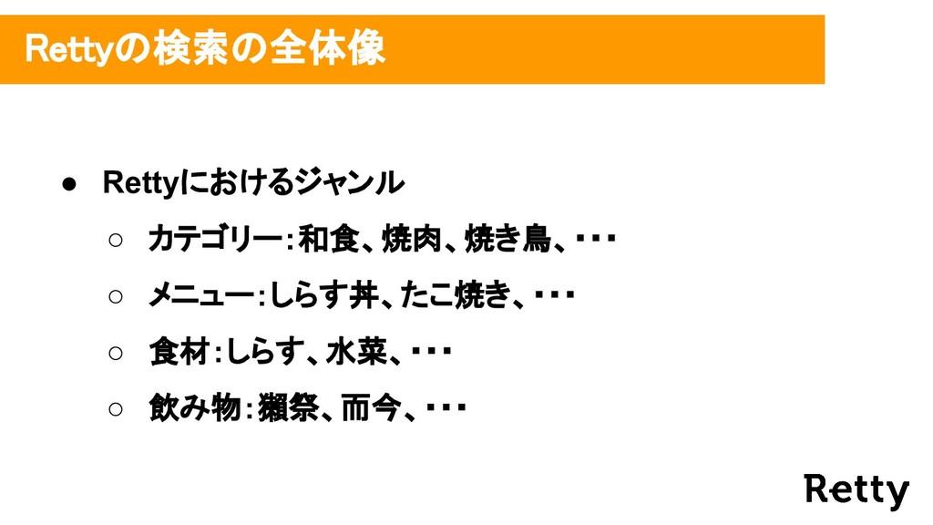 ● Rettyにおけるジャンル ○ カテゴリー:和食、焼肉、焼き鳥、・・・ ○ メニュー:しら...