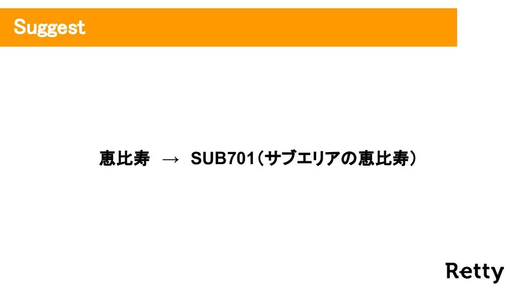 恵比寿 → SUB701(サブエリアの恵比寿) Suggest