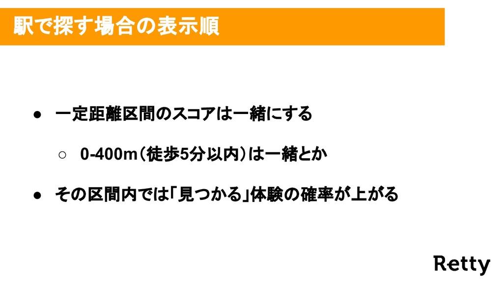 駅で探す場合の表示順 ● 一定距離区間のスコアは一緒にする ○ 0-400m(徒歩5分以内)...