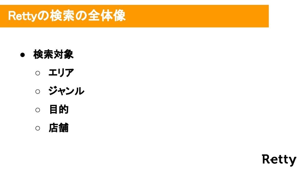 ● 検索対象 ○ エリア ○ ジャンル ○ 目的 ○ 店舗 Rettyの検索の全体像
