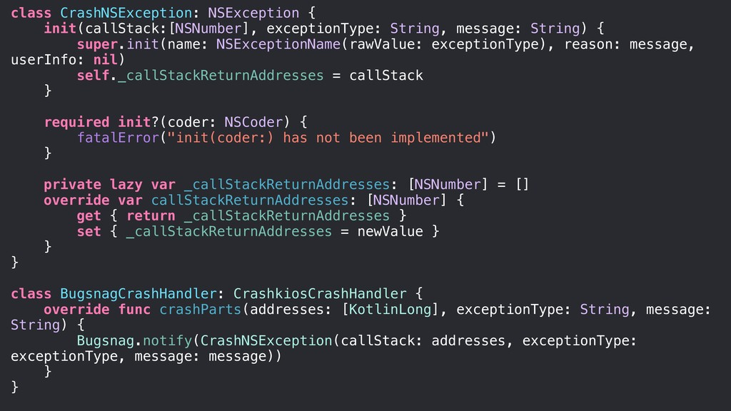 class CrashNSException: NSException { init(call...