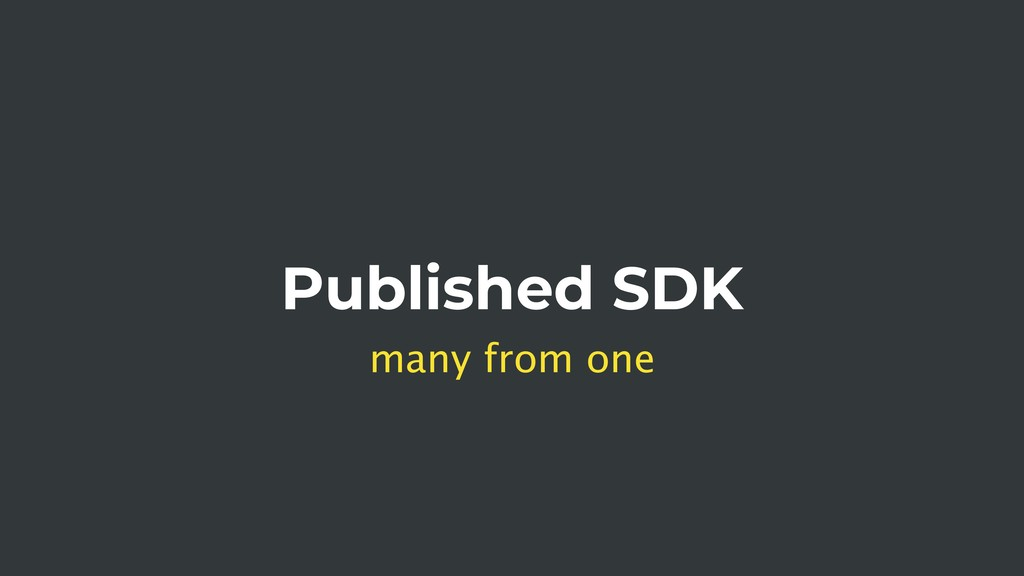 Published SDK many from one