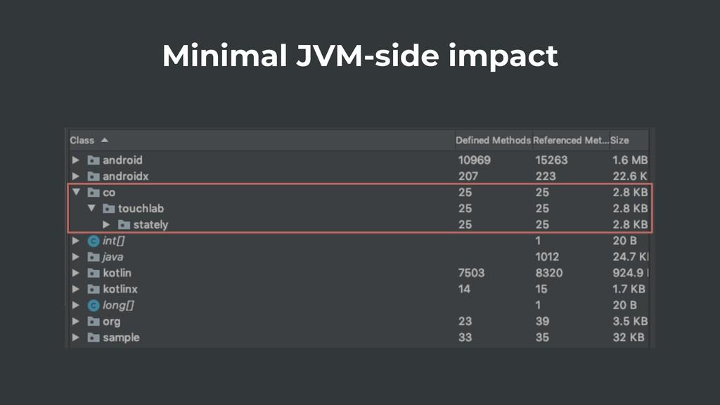 Minimal JVM-side impact