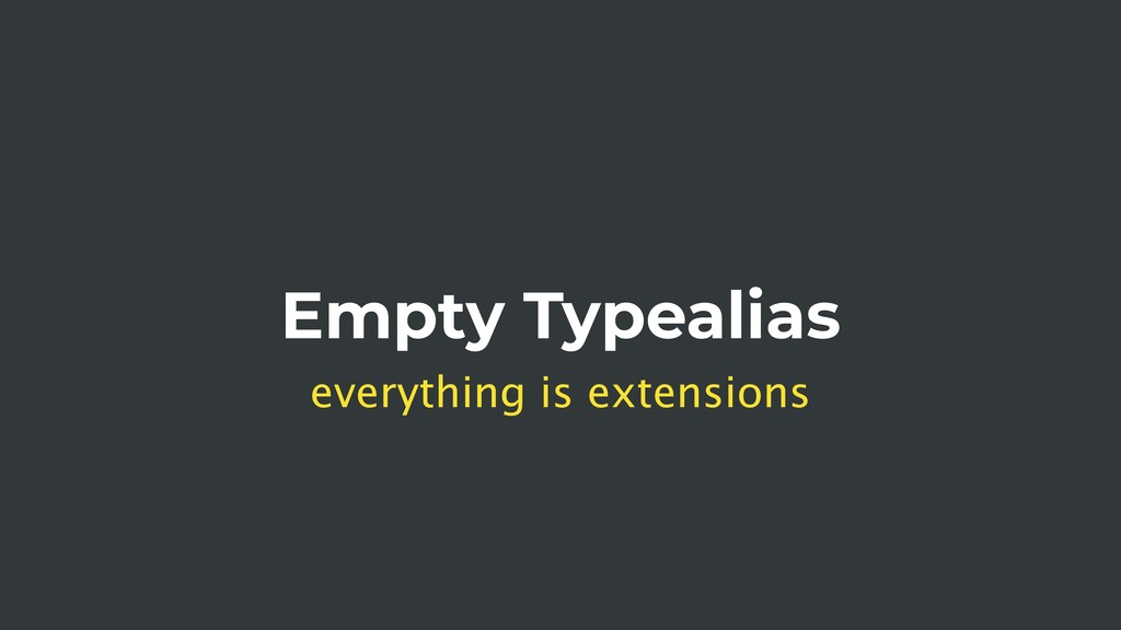 Empty Typealias everything is extensions